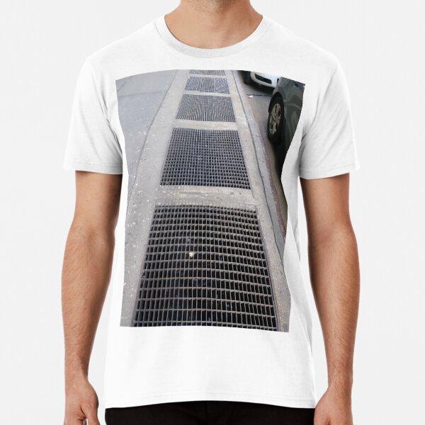 Manhattan, New York, city, Jersey City, view, buildings, water, shore, sky, ✈, plane, skyscrapers, winter, NYC, street, view Premium T-Shirt