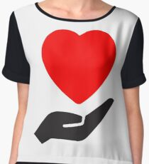 Valentine Day Special Heart 7 Chiffon Top