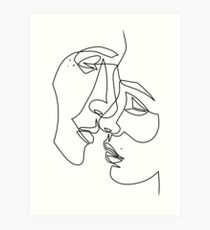 Lovers Drawing in One Line Art Print