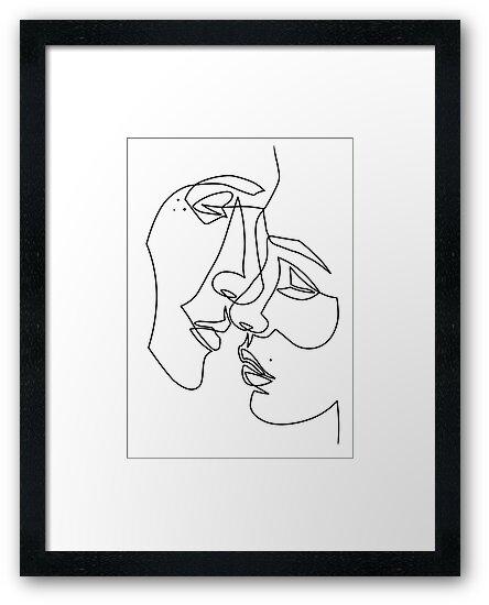 Láminas enmarcadas «Amantes dibujando en una línea» de CatByDesign ...