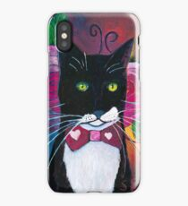 Tuxedo Cat and Pink Roses  iPhone Case