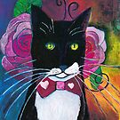 Tuxedo Cat and Pink Roses  by SarahSolie