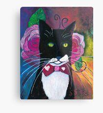 Tuxedo Cat and Pink Roses  Metal Print