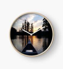 Sunset on a lake Clock