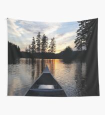 Sunset on a lake Wall Tapestry