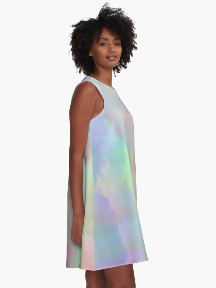 Alternate view of Abstract Rainbow Watercolor A-Line Dress