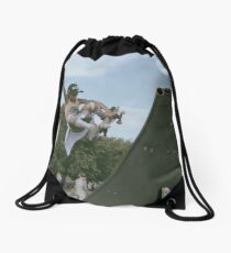Punch the sky Drawstring Bag