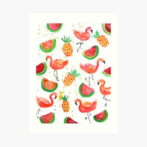 Flamingo Watermelon Art Print