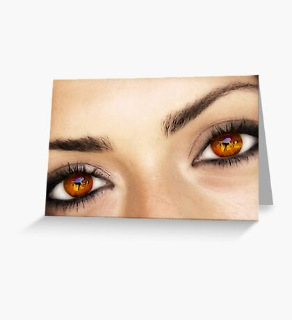 a fire in her eyes Greeting Card