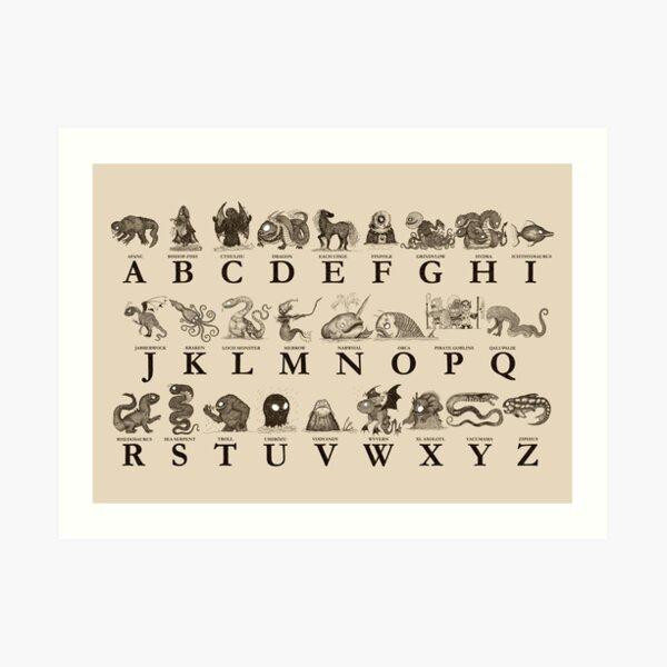 Sea Monster Alphabet Art Print
