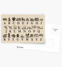 Sea Monster Alphabet Postcards