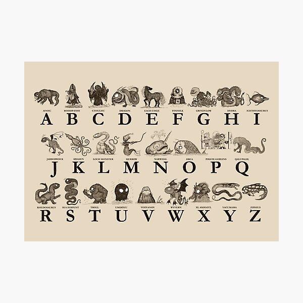 Sea Monster Alphabet Photographic Print