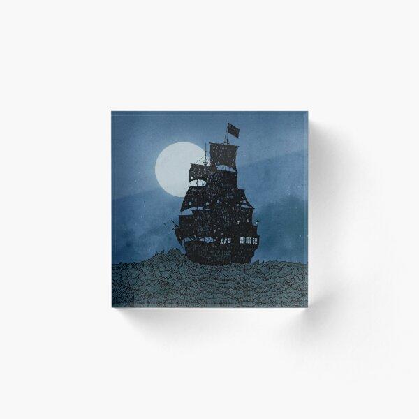 Sailing Under The Moon Acrylic Block