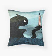 Sea monster & Lighthouse Throw Pillow