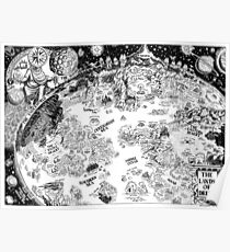 HP Lovecraft Dreamland Map Black and White High Quality Poster