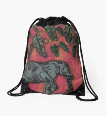 Elephants at Sunset Drawstring Bag