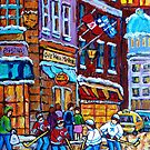 OLD MONTREAL HOCKEY WINTER SCENE PAINTING FOR SALE CANADIAN ART  by Carole  Spandau