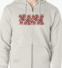 Kalyna Ukrainian Embroidered Vyshyvanka Print Zipped Hoodie