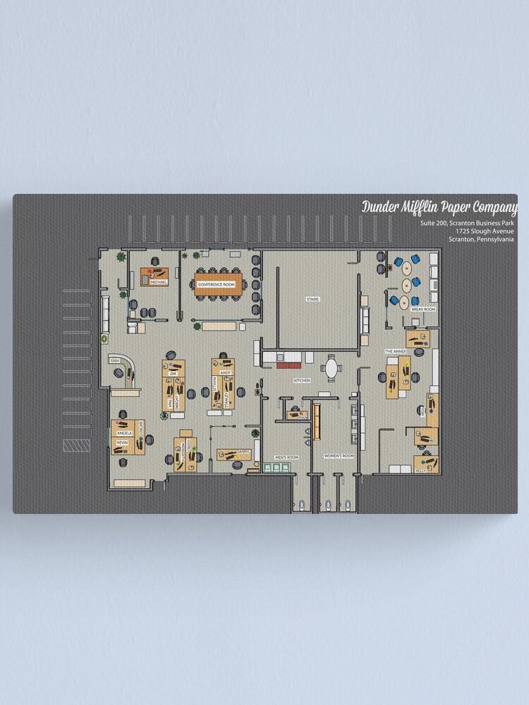Dunder Mifflin Paper Company Floor Plan Tv Show Floorplan Inc Blueprint Gift Canvas Print By Mypartyshirt Redbubble