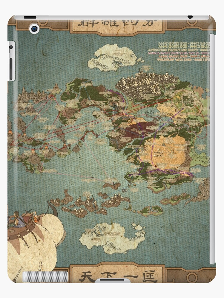Avatar The Last Airbender Map Books 1 3 High Quality Ipad Cases