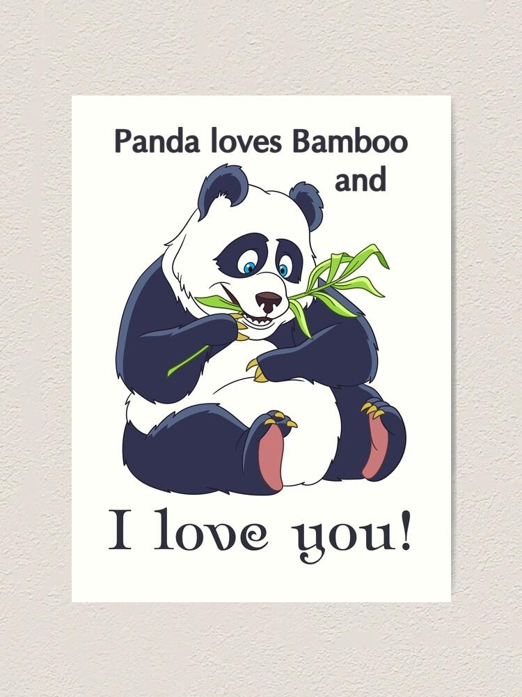 Ours Panda Drôle Avec Du Bambou Humour De La Saint Valentin Impression Artistique