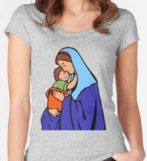 Camiseta entallada de cuello redondo Virgin Mary and Child-2