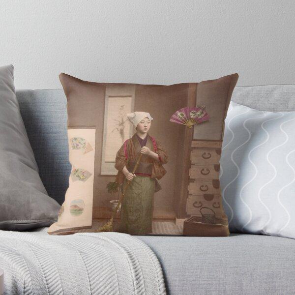 Japanese girl sweeping Throw Pillow