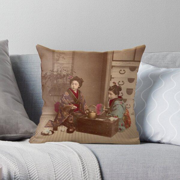 Japanese girls, meiji period, Japan Throw Pillow