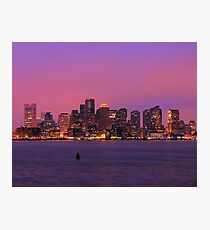 December Evening Boston Skyline Photographic Print