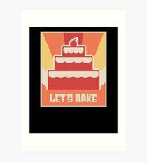 Let's Bake   Vintage Baking Poster Art Print
