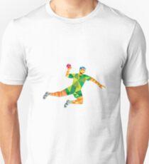 Handball Player Jumping Throwing Ball Low Polygon Unisex T-Shirt