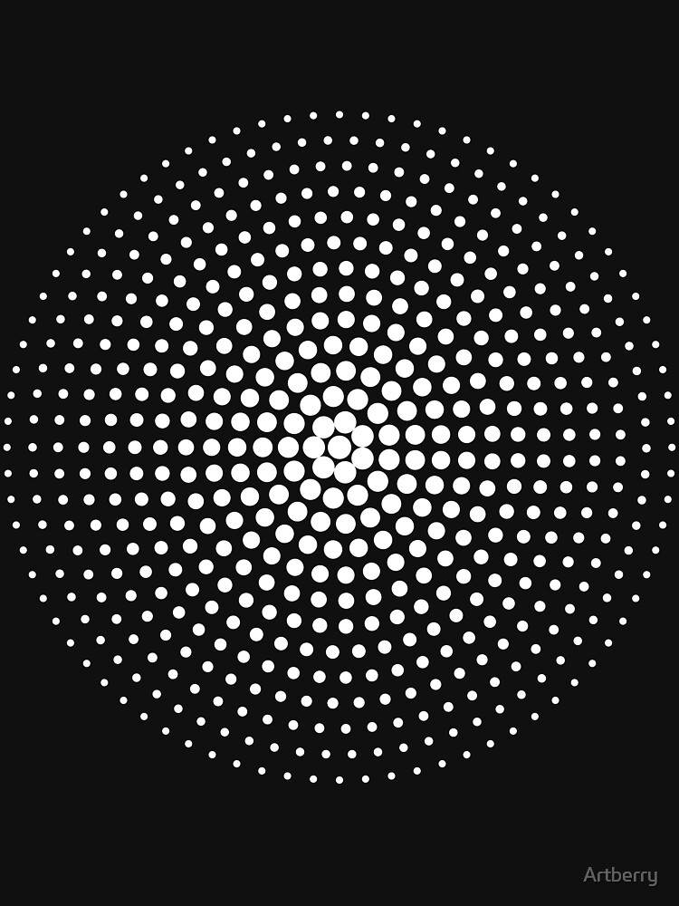 Halftone Circle - White on Black by Artberry