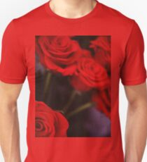 Analog photo of bunch bouquet of red roses Unisex T-Shirt