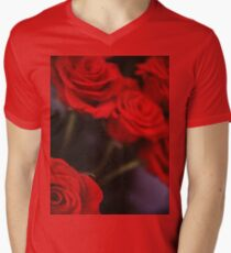 Analog photo of bunch bouquet of red roses Men's V-Neck T-Shirt