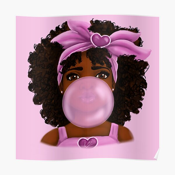 Bubble Gum- Little Black Girl Portrait Poster