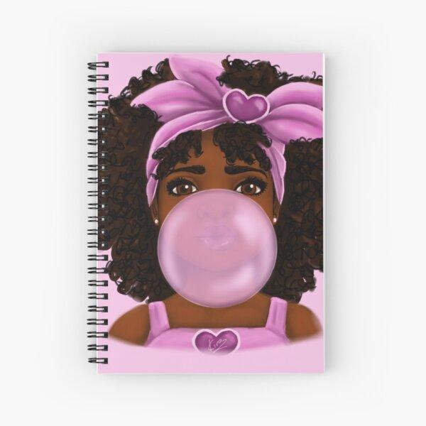 Bubble Gum- Little Black Girl Portrait Spiral Notebook