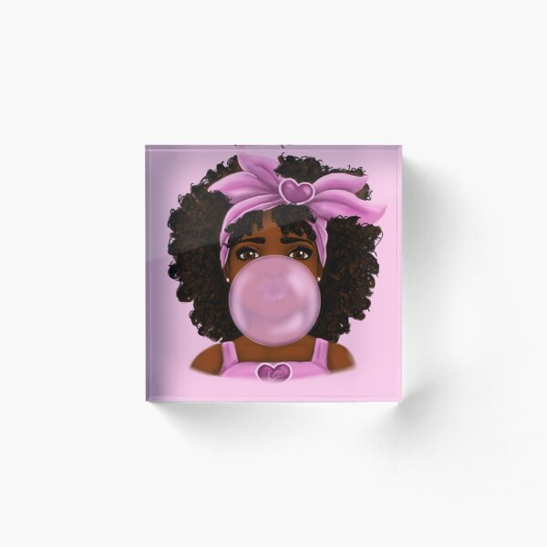 Bubble Gum- Little Black Girl Portrait Acrylic Block