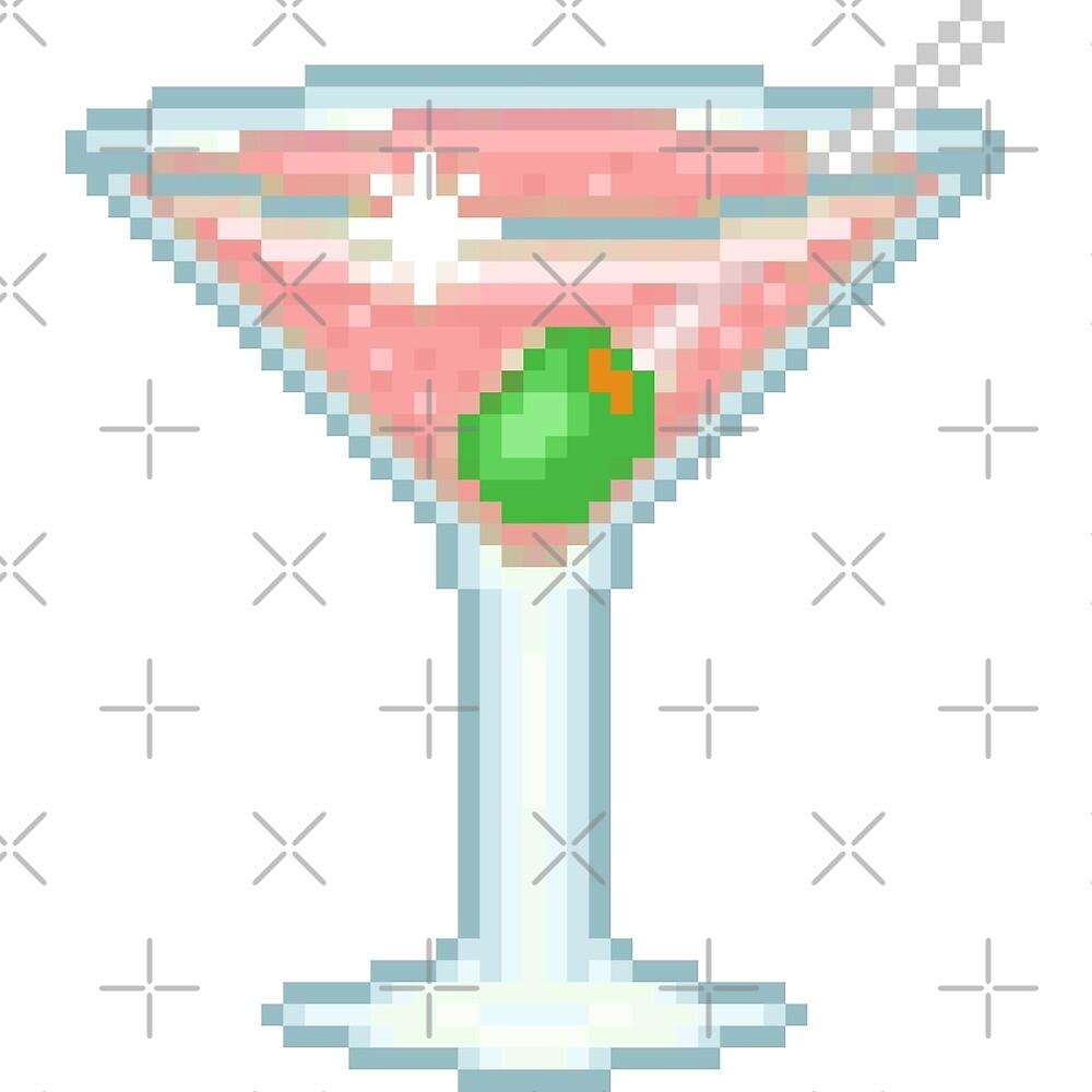 Pixel Pink Martini Glass by NicholiCosplay