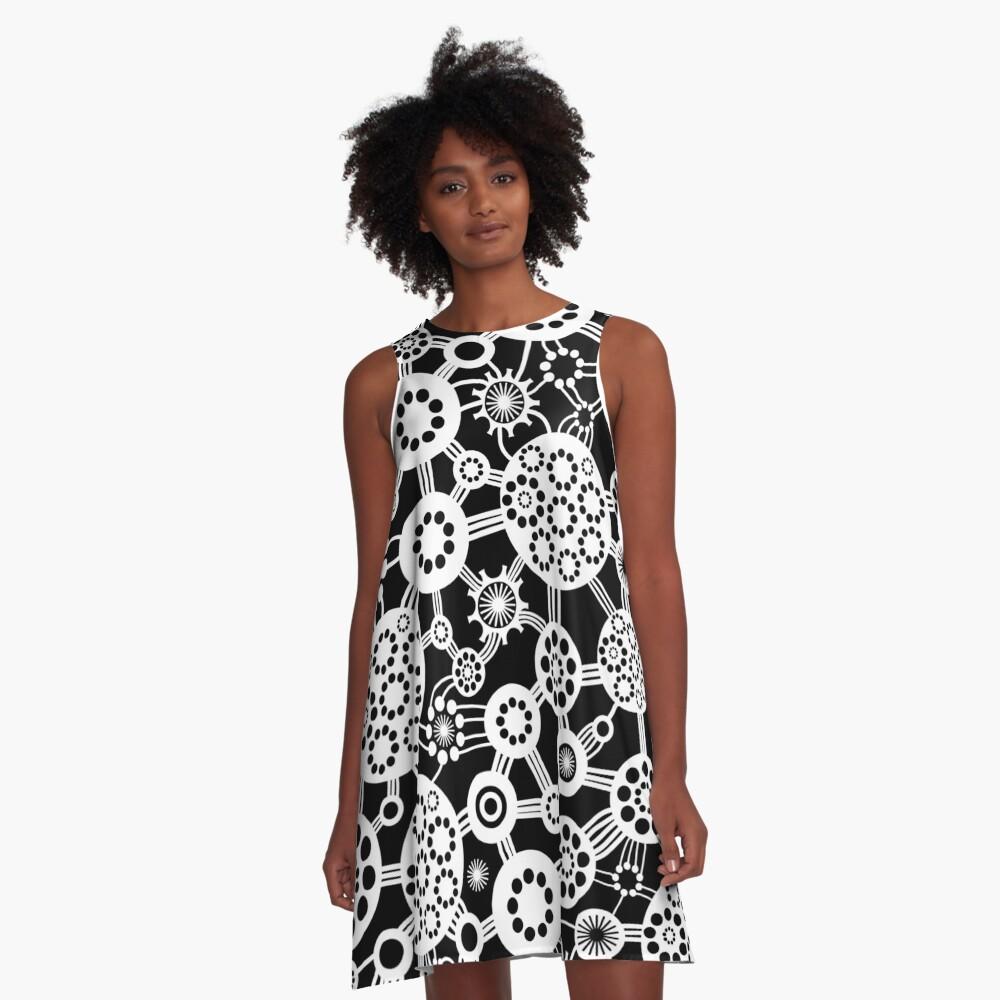 Ecosystem - White on Black A-Line Dress Front