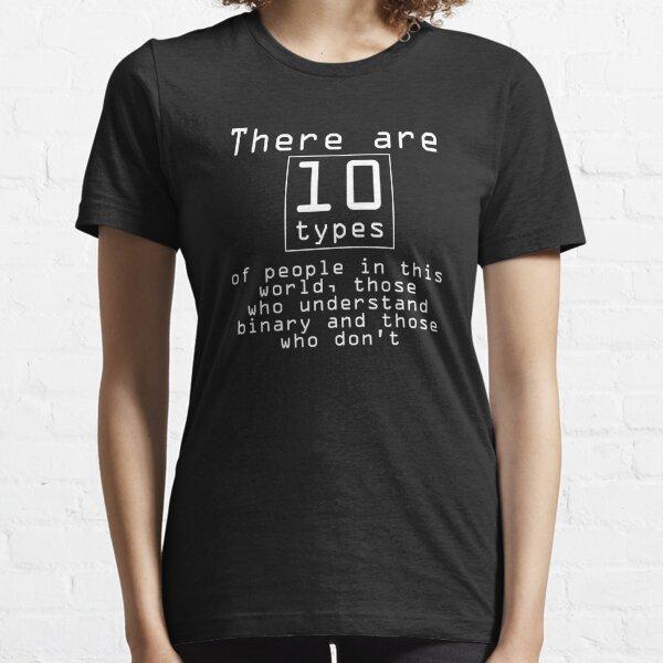 Regalo divertido de la camiseta para los frikis. Programador de código binario matemático Camiseta esencial