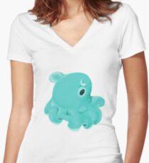 Teal Dumbo Octopus Women's Fitted V-Neck T-Shirt