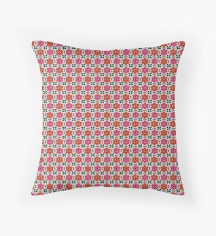 Orange and Hot Pink Flowers Retro Pattern Throw Pillow