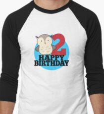 Cute Owl Forest Animal Kids 2nd Birthday Party Mens Baseball 3 4 T Shirt