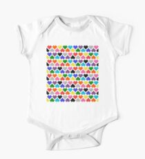 Seamless 10 Color Pattern of Pixel Hearts (7x6) One Piece - Short Sleeve
