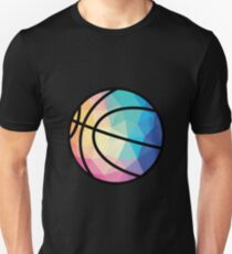 Geometrische Basketball Form Low Poly Basketball Geschenk Unisex T-Shirt