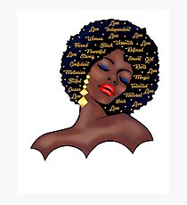 Black Woman  History T-shirt Afro Birthday Queen  Photographic Print