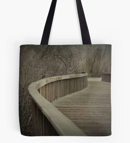 Wooden Bike Trail River Crossing Tote Bag