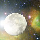 Moon and Galaxy by S McKoy