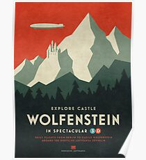 Castle Wolfenstein Vintage Tourism - 3D Red Poster