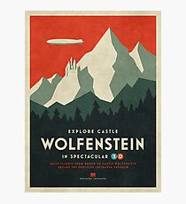 Castle Wolfenstein Vintage Tourism - Border 3D Red Photographic Print